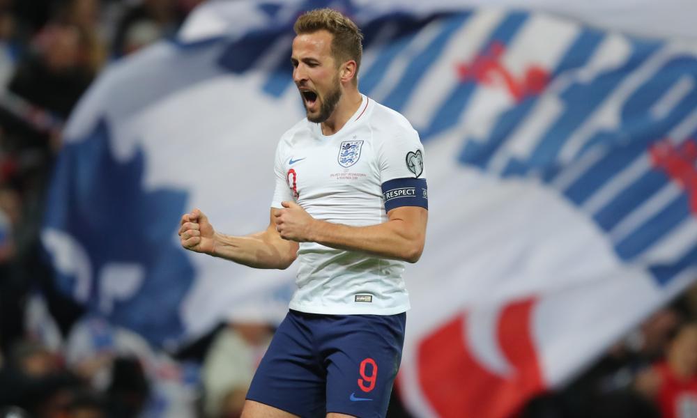 Harry Kane of England celebrates scoring their third goal.