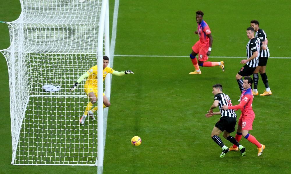 Newcastle's Federico Fernández scores an own goal to give Chelsea an early lead