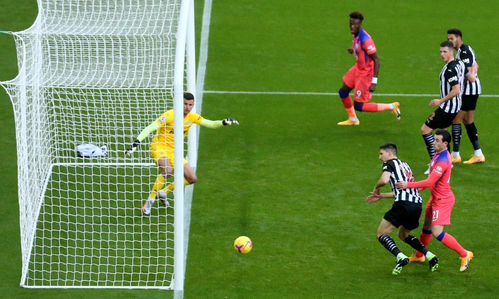 Federico Fernandez (second right) of Newcastle scores an own goal .