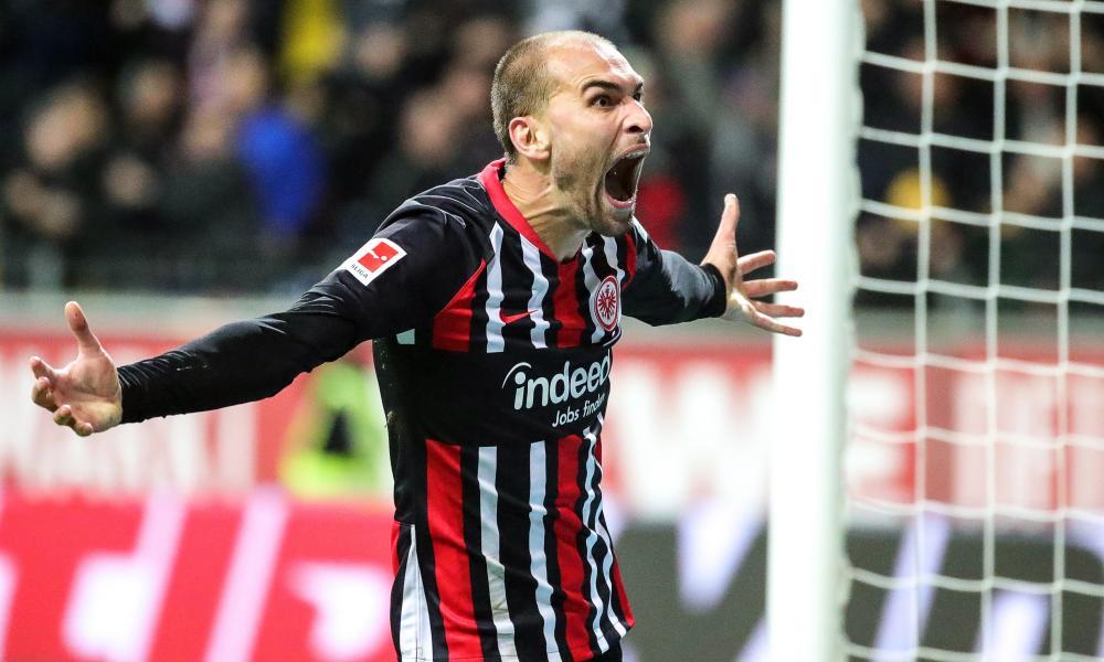 Eintracht Frankfurt's Bas Dost celebrates scoring in the morale-boosting 3-0 win against Bayer Leverkusen last Friday.