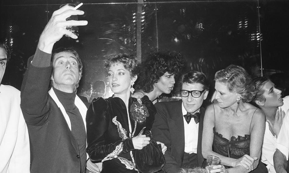 Halston, Loulou de la Falaise, Potassa, Yves St Laurent, and Nan Kempner at Studio 54 in 1978.