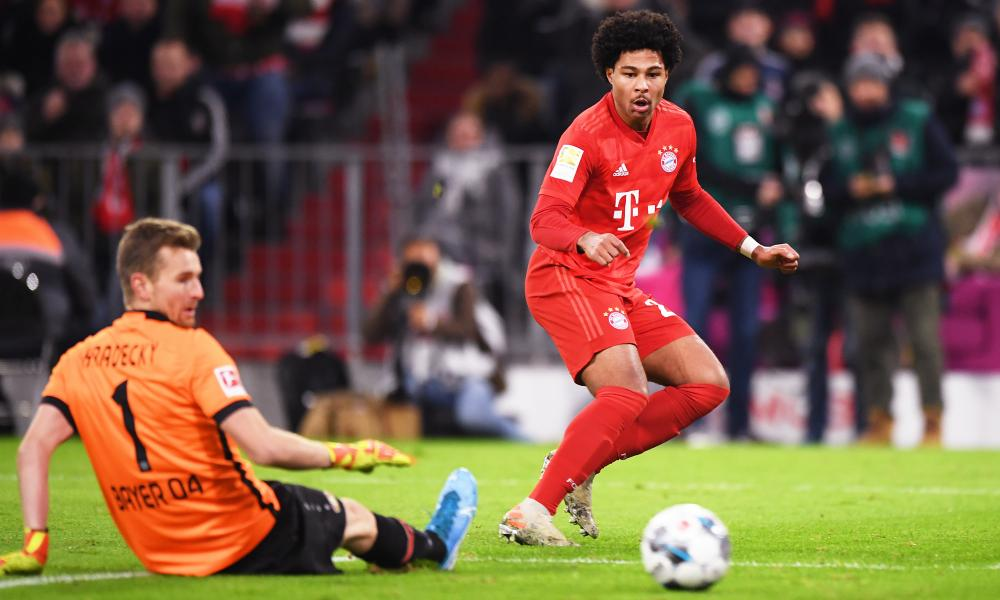 Lukas Hradecky (left) denied Bayern's Serge Gnabry on multiple occasions.