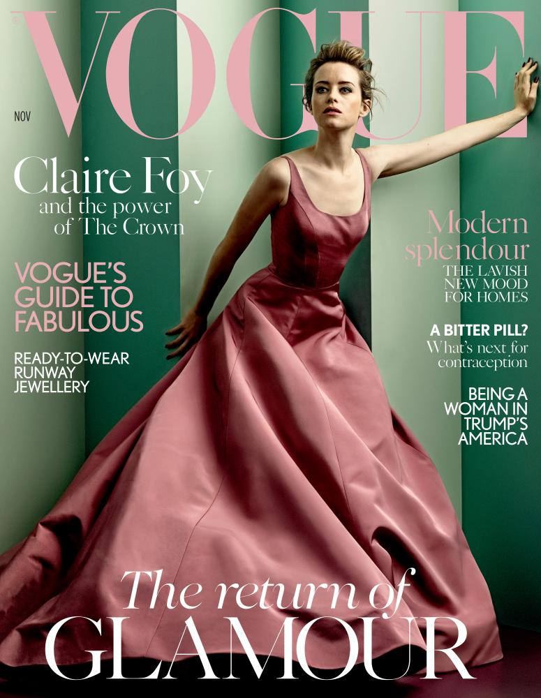 Claire Foy in Christian Siriano on the cover of Vogue.