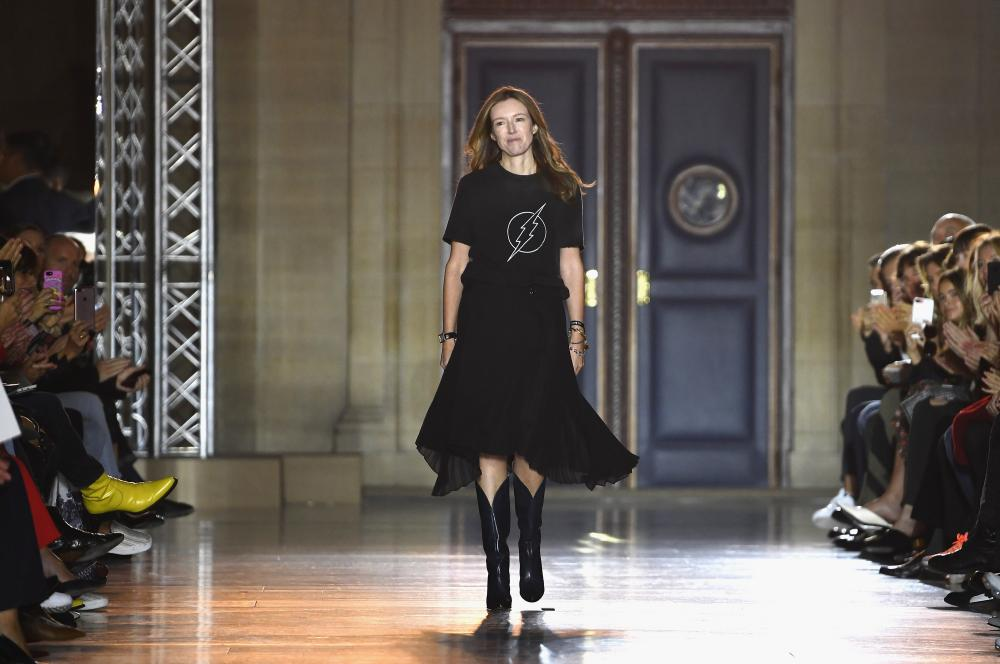 Givenchy's new designer Clare Waight Keller on the catwalk at Paris fashion week in October 2017.