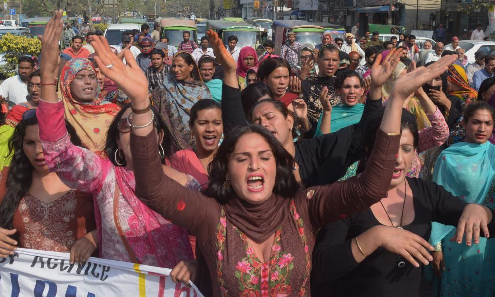 Transgender people hold a rally for social reform in Lahore, Pakistan