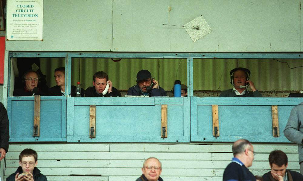 The press box at Victoria Park, the home of Hartlepool United, in October 1998
