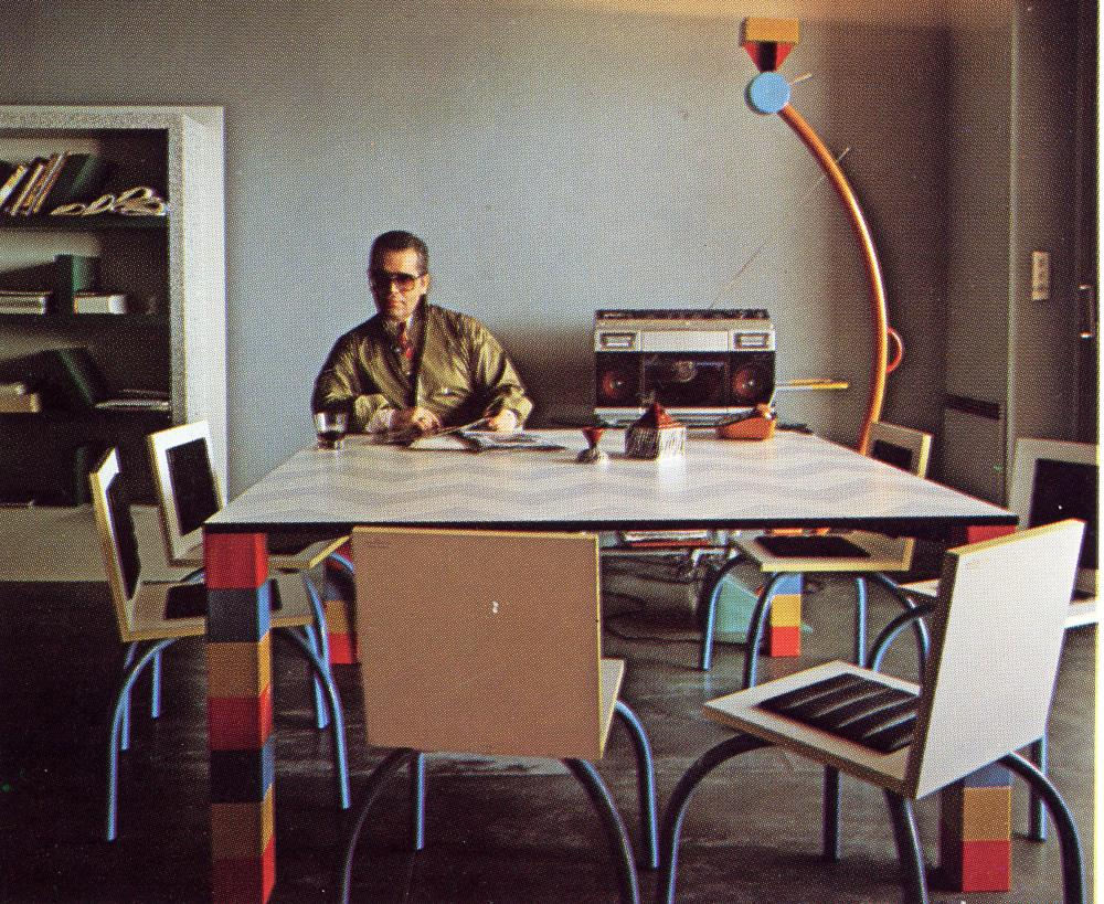Collector … Karl Lagerfeld in his Memphis-filled Monte Carlo apartment.
