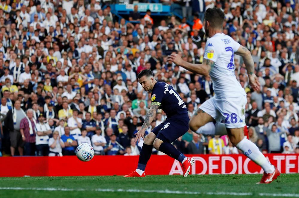 Marriott scores the equaliser for Derby.