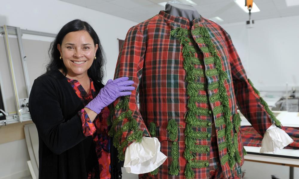 A cut above … Diana Gabaldon examines the tartan suit of English Jacobite Sir John Hynde Cotton.
