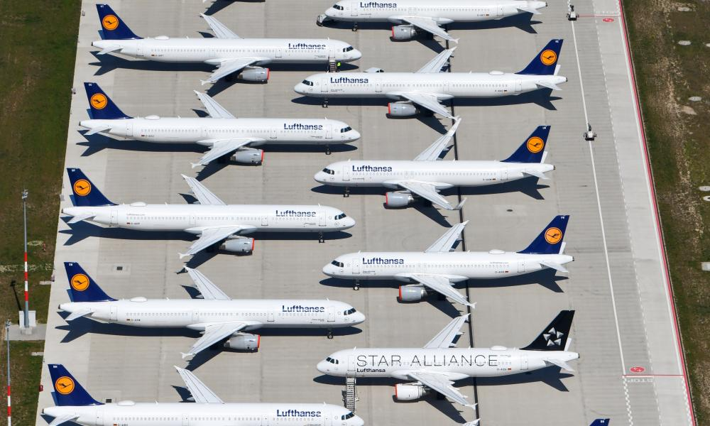 Lufthansa planes sitting on the tarmac at Berlin's Brandenburg International airport