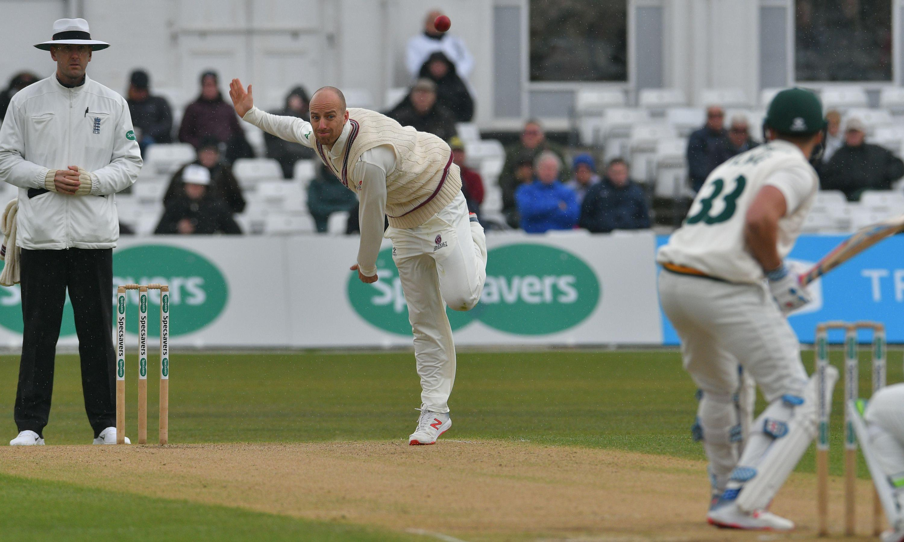 Six-wicket Jack Leach spins Somerset to innings victory over Nottinghamshire