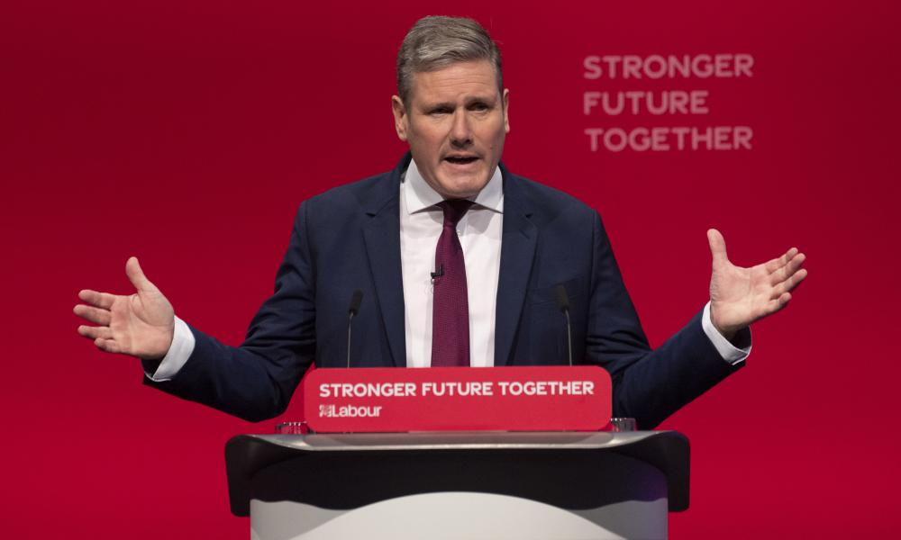 Labour leader Keir Starmer delivers the closing speech of the Labour party conference.