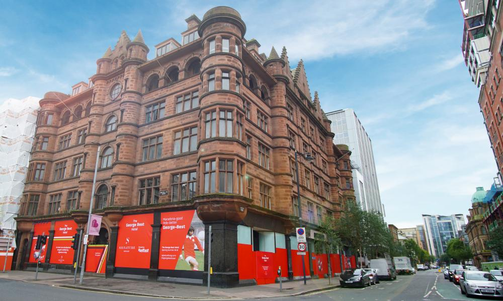 Exterior with work going on at The George Best Hotel, Belfast