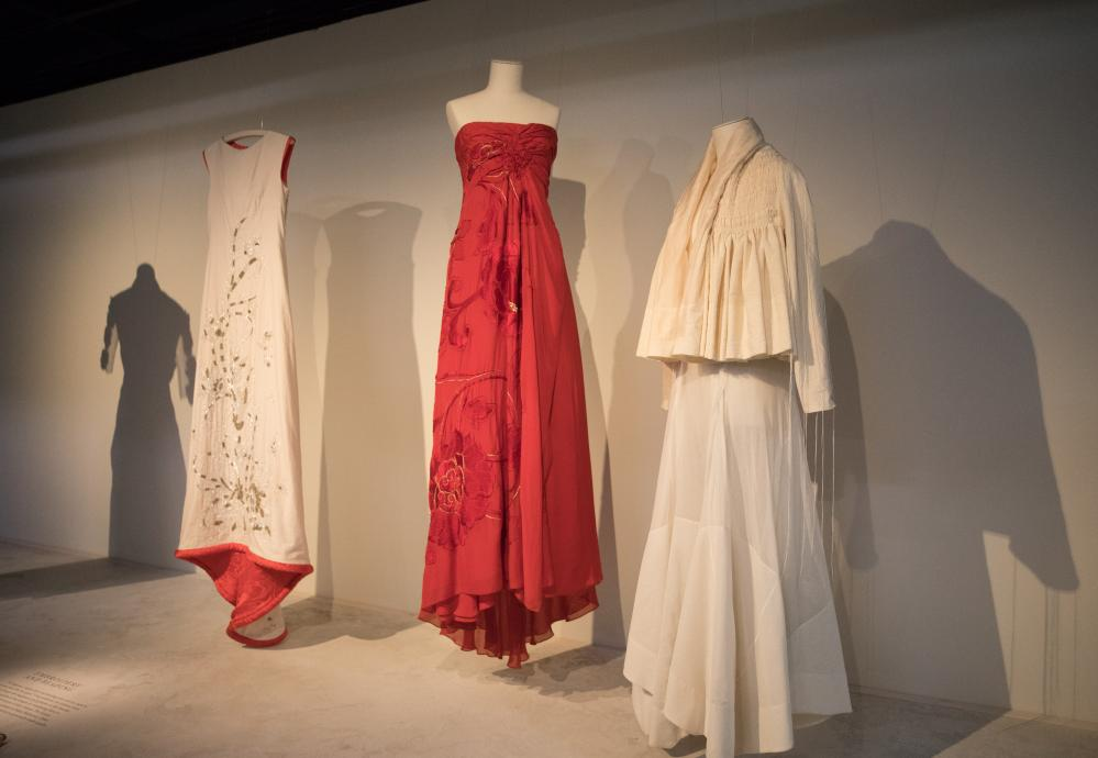 Some of Akira Isogawa's designs on display at Sydney's Museum of Applied Arts and Science