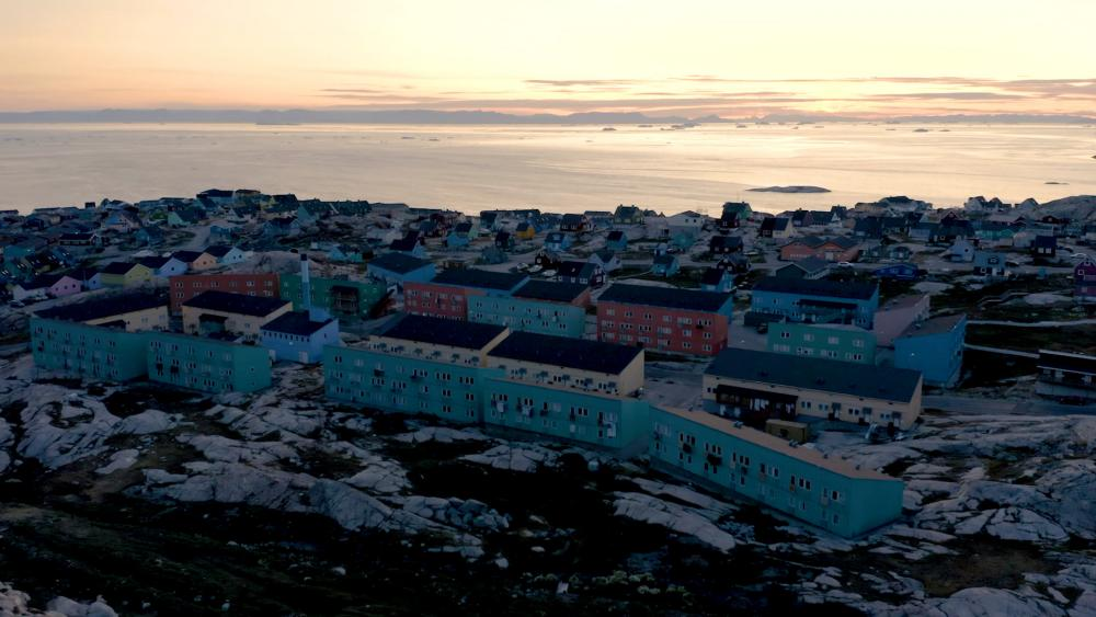A view of Ilulissat, Greenland at dusk