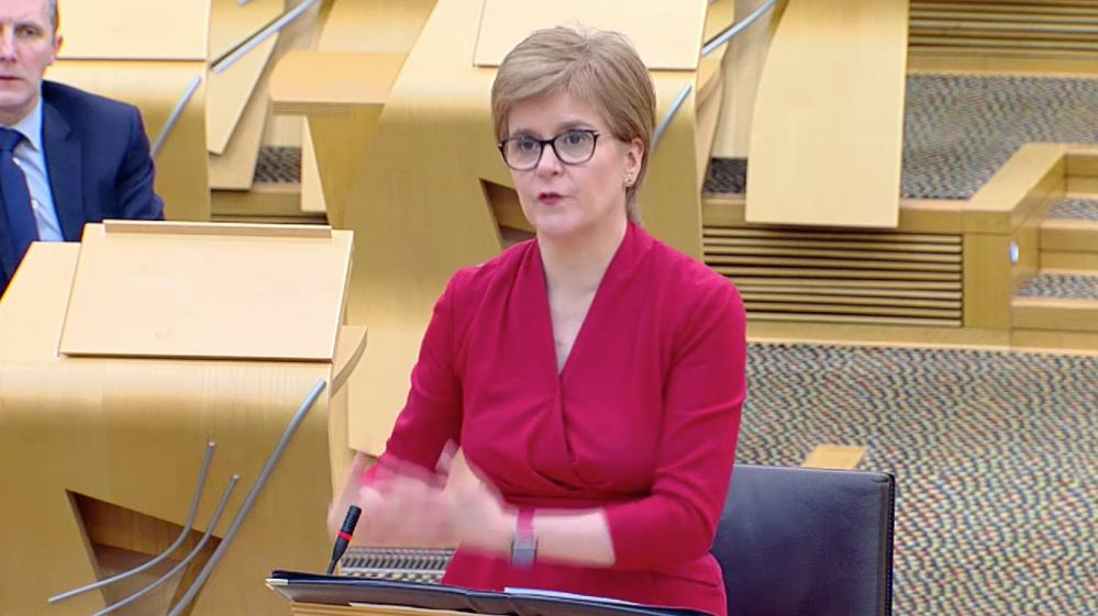 Nicola Sturgeon in the Scottish parliament this afternoon.