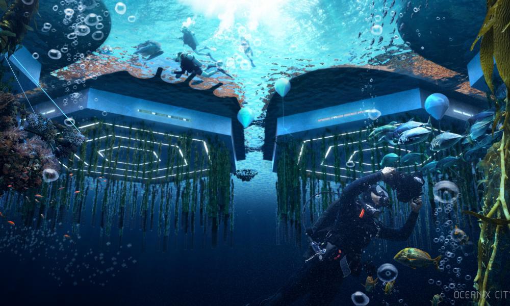 Underwater Night Image OceanixCity by BIG-Bjarke Ingels Group