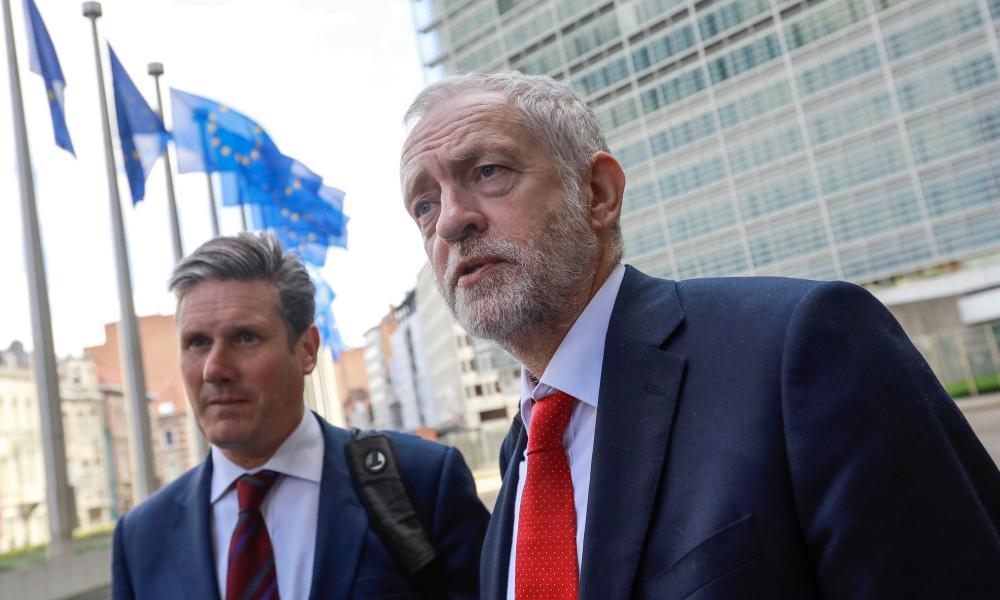 Jeremy Corbyn and Labour's Brexit spokesman, Keir Starmer, outside EU headquarters
