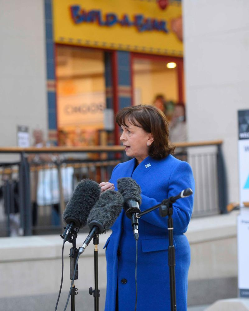 Economy minister Diane Dodds speaks to the media during a visit to to the Victoria Square shopping centre in Belfas.