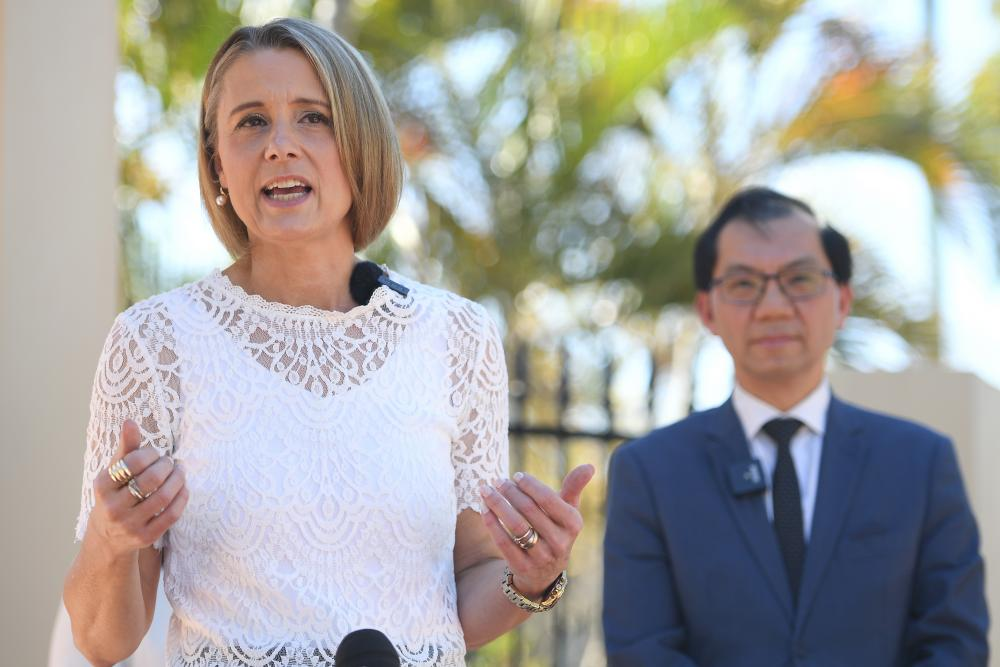 Labor senator Kristina Keneally and president of the Vietnamese community in Australia Paul Huy Nguyen speak to the media during a press conference in Sydney on Saturday