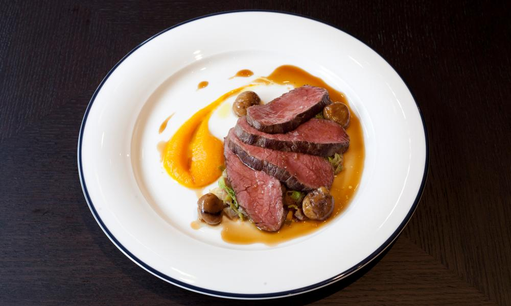 Venison with glazed chestnuts.