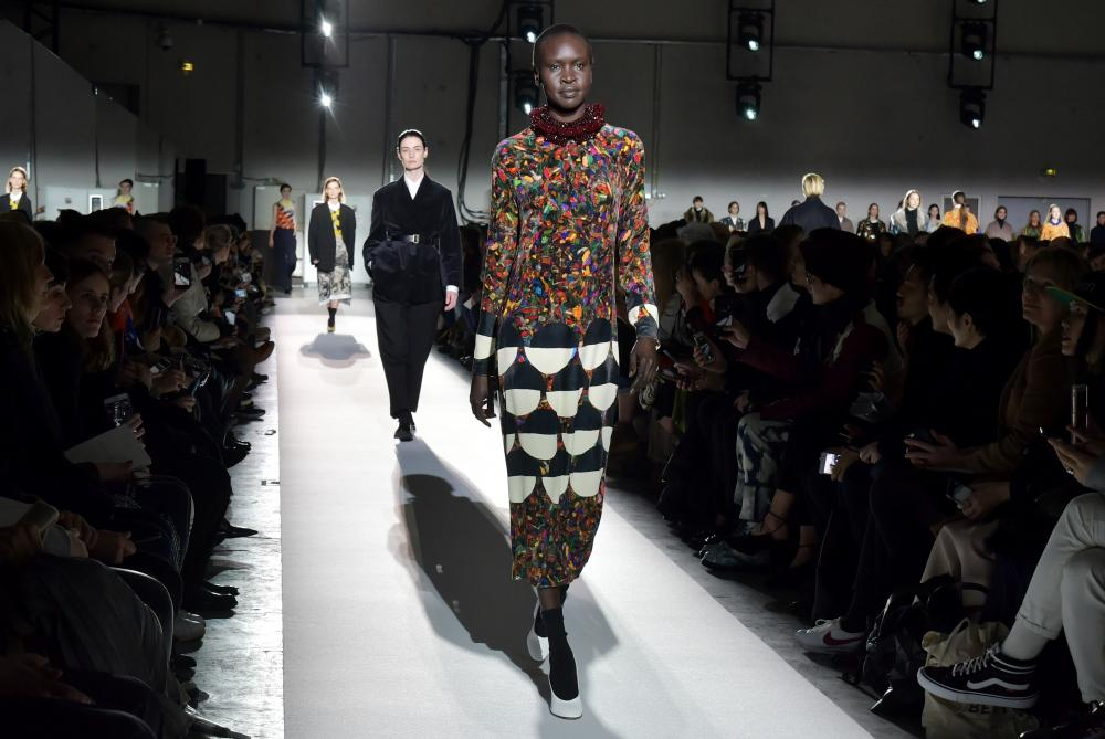 Alek Wek, one of a number of older models to walk Dries Van Noten's 100th show.