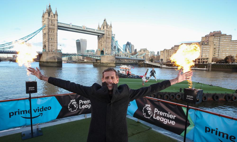 Peter Crouch at Amazon's launch on the Thames.