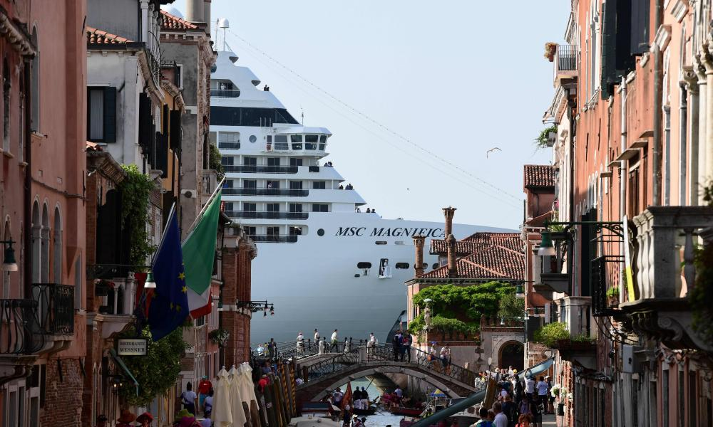 A cruise ship in Venice. Venice has appealed to top European cruise ship destinations, from Amsterdam to Barcelona, Dubrovnik and Marseille, to unite in tackling the dangers and environmental impact of hulking liners, port authorities said on August 1, 2019.