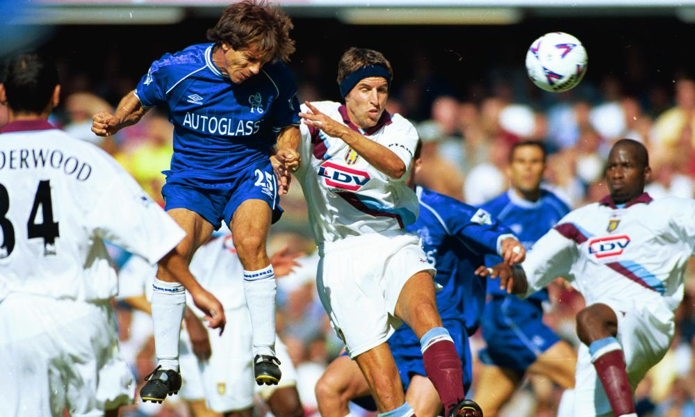 Gianfranco Zola, seen here beating Aston Villa's Gareth Southgate to the ball in 1999, is a legend at Chelsea.