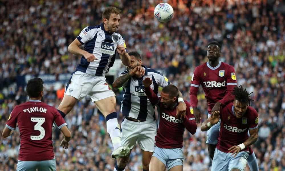 West Bromwich Albion's Craig Dawson scores his side's first goal of the game.