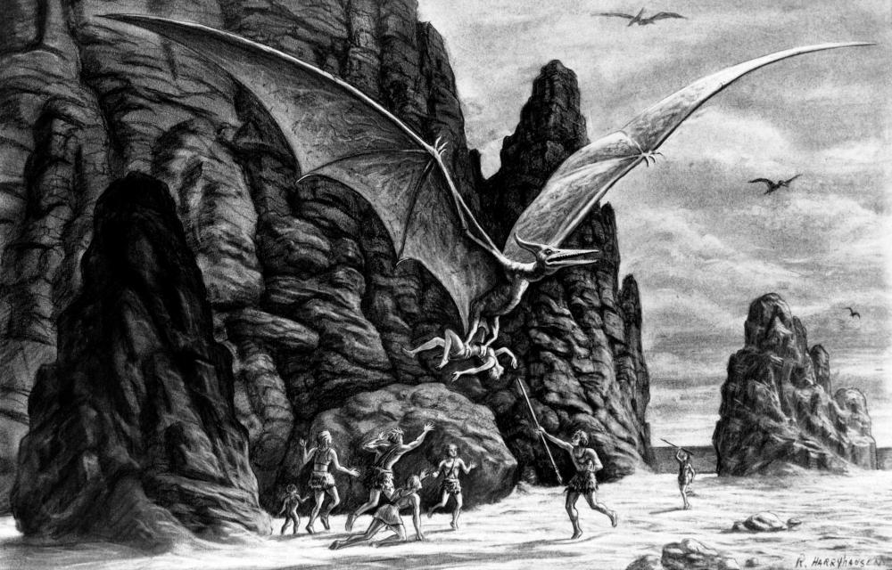 Ray Harryhausen's storyboard illustration for One Million Years BC, featuring Pteranodon.