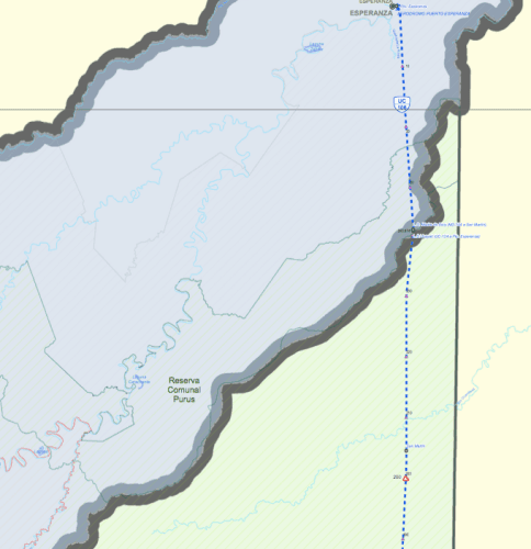 Detail from a Transport and Communications Ministry map showing the projected highway from Puerto Esperanza towards Iñapari. It would cross the Purus communal reserve and enter the Alto Purus national park (marked in green), before then entering the Madre de Dios reserve (not shown).