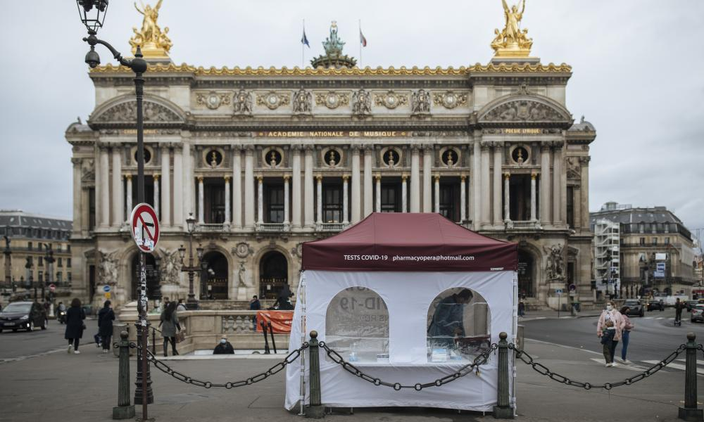 A Covid-19 test tent set up in front of the Opera in Paris.