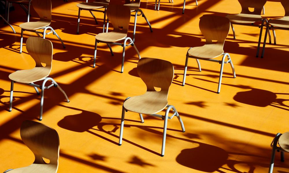 Chairs set out to allow social distancing at a school in Schwerin, Mecklenburg-Western Pomerania state