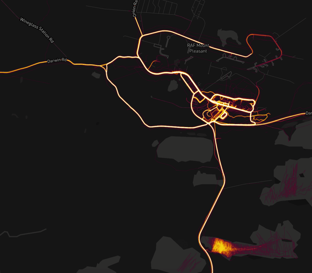 Heatmap of people exercising at RAF Mount Pleasant in the Falkland Islands.