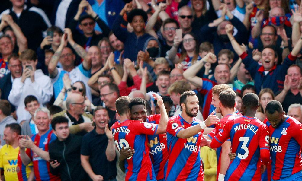 Crystal Palace's Odsonne Edouard (second left) is congratulated by his teammates after scoring seconds after coming off the bench.