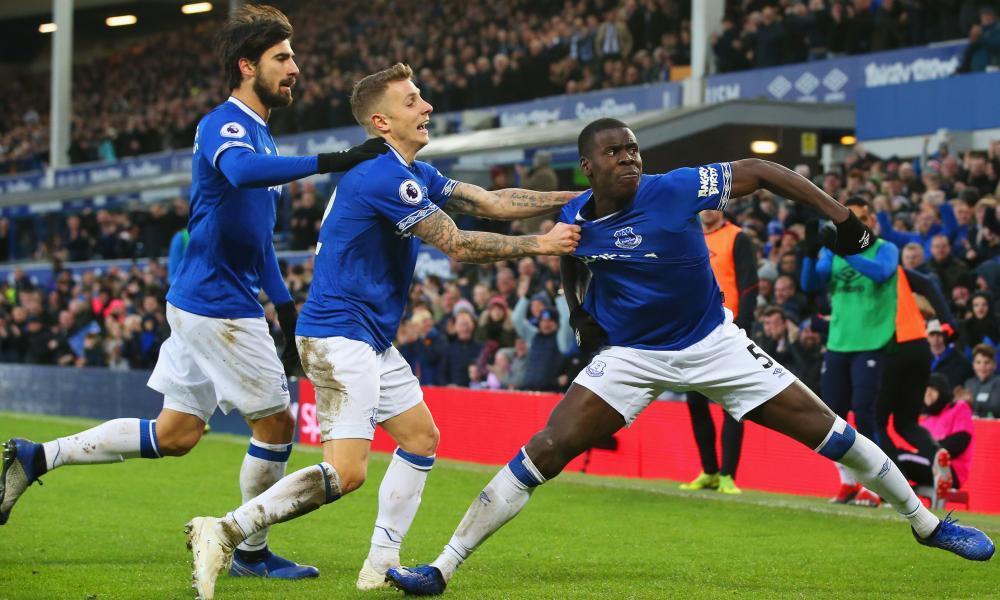 Kurt Zouma celebrates after scoring for Everton v Bournemouth