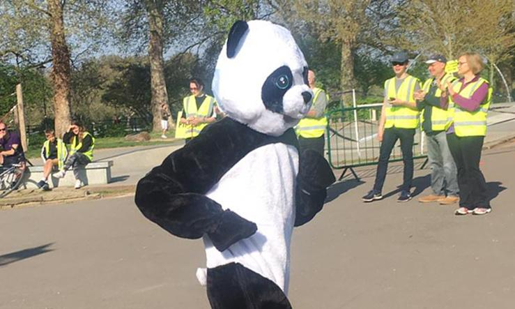Chasing a world record dressed as a giant panda could be oddly liberating