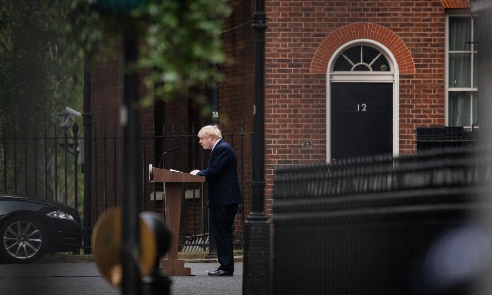 Boris Johnson speaking in Downing Street this morning.