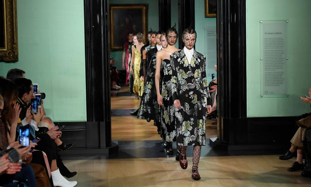 Models on the catwalk at Erdem's London fashion week show at the National Portrait Gallery.