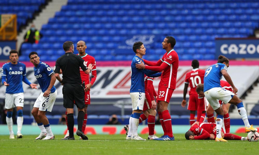 Rodriguez speaks with Matip as Thiago lies injured