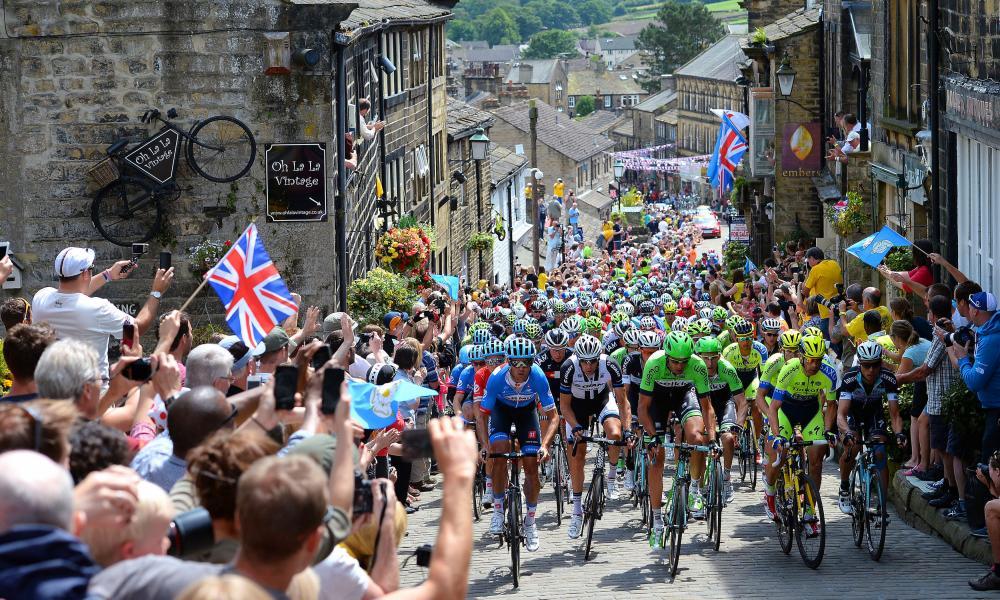 The 2014 Tour de France Grand Départ  passes through Haworth, Yorkshire.