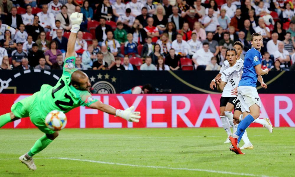 Germany's Leroy Sane scores their eighth goal.