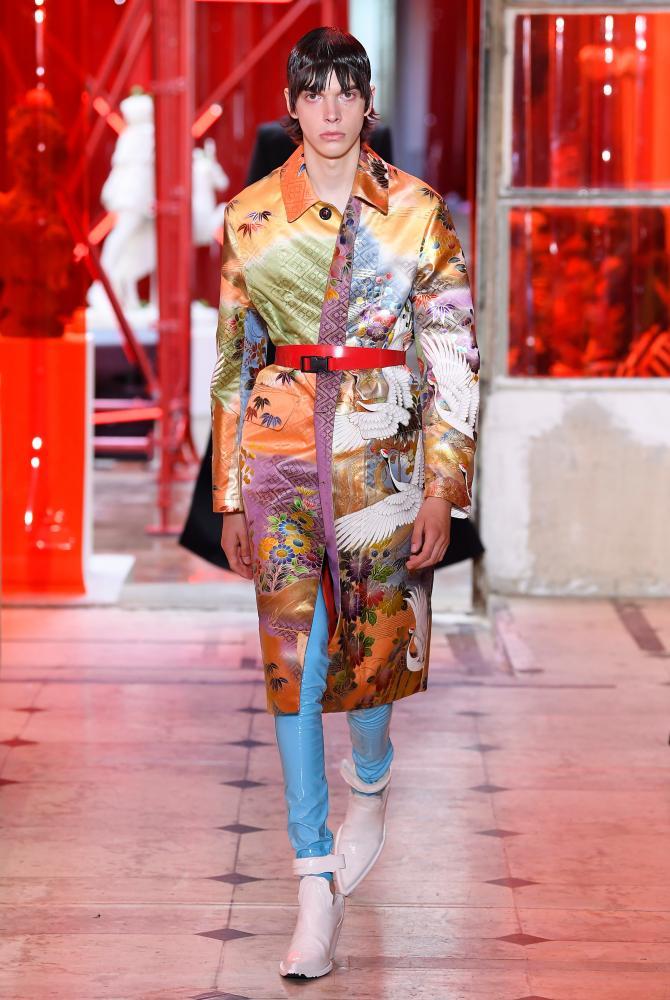 Kimono jackets and acidic vinyl trousers.