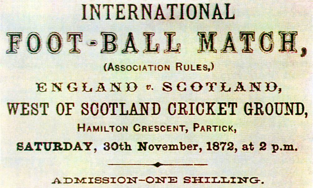 Ticket to the first international – admission was one shilling for men, but was free for women and the Scotsman observed: 'a good number of ladies' in the crowd.