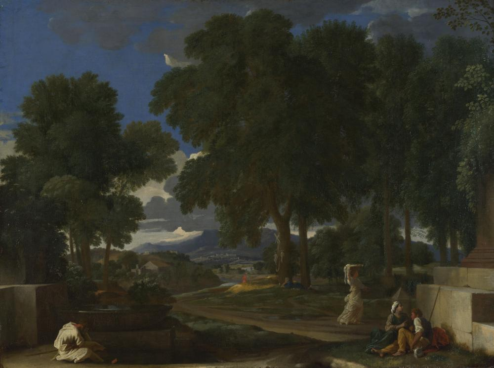 Landscape With a Man Washing His Feet at a Fountain, 1648. by Nicolas Poussin