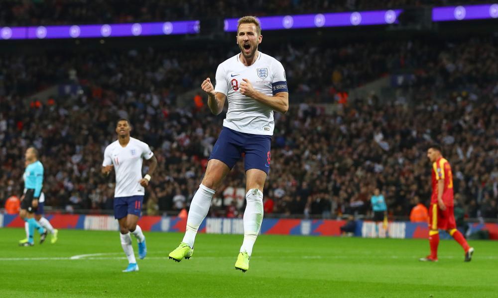 Harry Kane of England celebrates scoring a goal to make the score 2-0.
