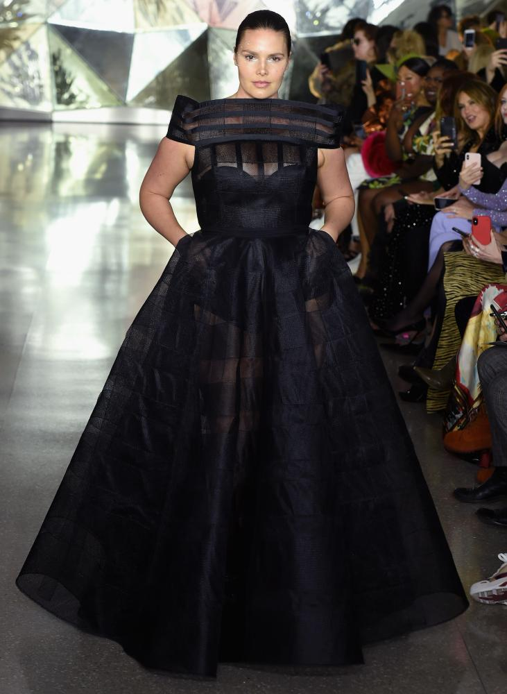Candice Huffine in Christian Siriano at New York fashion week