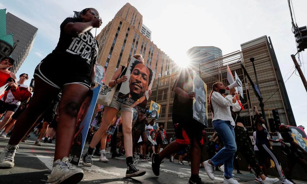 Protesters march during a rally in June after the sentencing of Derek Chauvin for murdering George Floyd in Minneapolis.