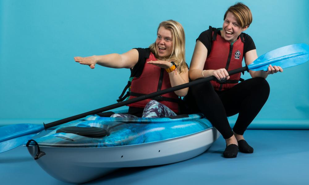 Erin Bastian, left, and Bex Band of Paddle Pickup. Photograph by Antonio Olmos for the Observer